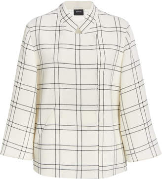Akris Clemence Double Face Wool Crepe Check Print Jacket