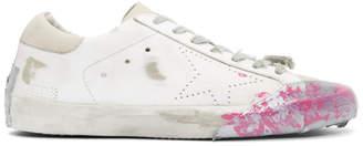 Golden Goose White Skate Paint Tape Sneakers