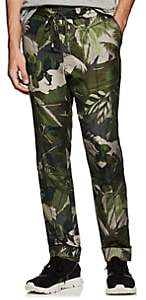 Valentino MEN'S FLORAL-CAMOUFLAGE SILK DRAWSTRING TROUSERS
