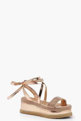 6ffbc0f6c261 boohoo Embellished Wrap Flatform Sandals