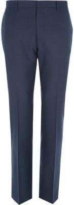 River Island Mens Dark blue tailored suit pants