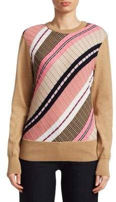 Victoria Beckham Diagonal Stripe Wool Sweater
