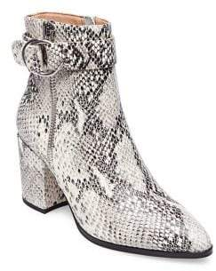 Steve Madden Steven by Snake Print Leather Booties