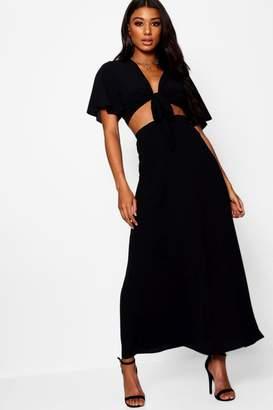 boohoo Maye Tie Angle Sleeve Maxi Skirt Co-ord