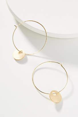 Anthropologie Golden Disc Hoop Earrings