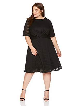 London Times Women's Plus Size Elbow Sleeve Twisted Waist FIT and Flare Dress