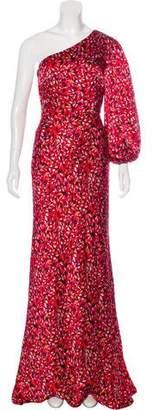 Saloni Printed One-Shoulder Dress