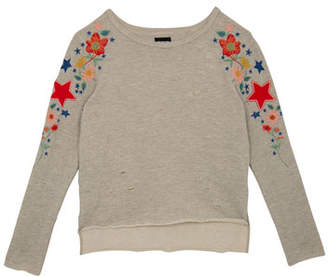 Hudson Distressed French Terry Sweatshirt w/ Flower & Star Embroidery, Size S-XL