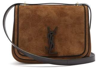 Saint Laurent Spontini Suede Satchel Cross Body Bag - Womens - Black Tan