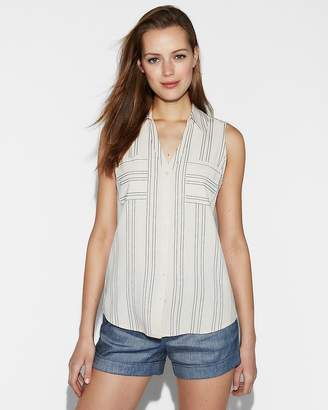 Express Slim Fit Stripe Sleeveless Portofino Shirt