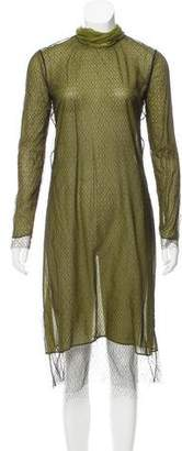 Gucci Mesh Overlay Silk Dress w/ Tags