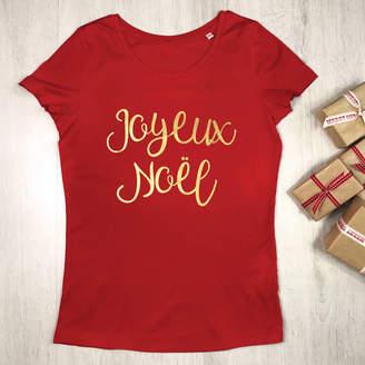 3ee11755 Lovetree Design Joyeux Noel Womens Christmas T Shirt