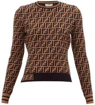 Fendi Ff Logo Jacquard Sweater - Womens - Brown Multi