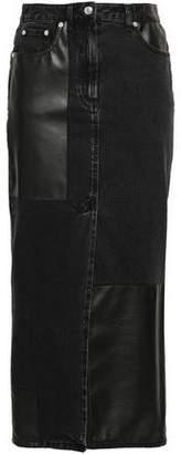 McQ Split-front Denim And Faux Leather Midi Skirt