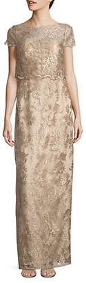 Adrianna Papell Pop Over Embroidered Dress