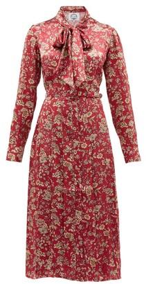 Evi Grintela Gilda Floral Print Silk Satin Midi Dress - Womens - Pink Print
