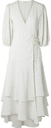 Ganni Wilkie Striped Silk And Cotton-blend Seersucker Wrap Dress - Off-white