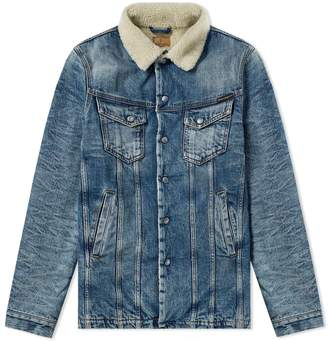 Nudie Jeans Lenny Heavy Used Sherpa Denim Jacket