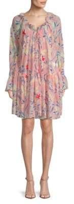 Ruffled Floral Peasant Dress