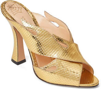 Charlotte Olympia Gold Hot Ups Metallic Crisscross Mule Sandals
