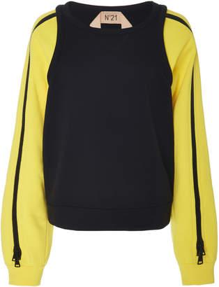 N°21 N 21 Fanny Cotton Zip Sleeve Sweatshirt