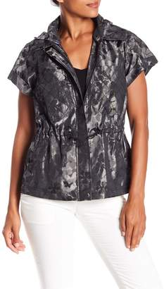 Laundry by Shelli Segal Patterned Short Sleeve Jacket w\u002F Hoodie