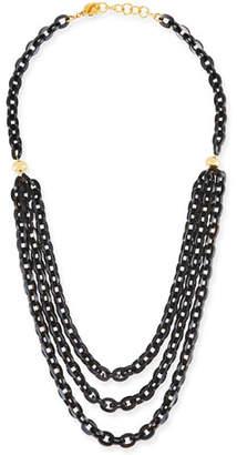"Nest Jewelry Multi-Strand Necklace w/ Black Horn, 38"""