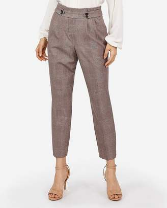 Express High Waisted Plaid Pull-On Button Tab Ankle Pant
