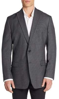 Calvin Klein Slim-Fit Micro Checkered Silk & Wool Sportcoat