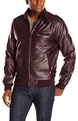 Members Only Men's Vegan Leather Iconic Racer Jacket