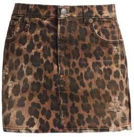 R 13 High-Rise Leopard-Print Mini Skirt