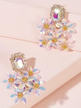 Shein Gemstone Decor Flower Cluster Earrings 1pair