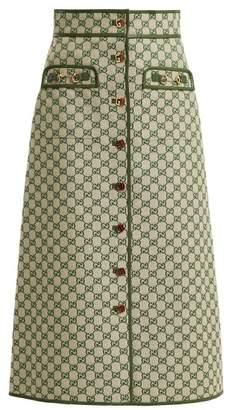 Gucci Gg Logo Cotton Blend Skirt - Womens - Green Multi