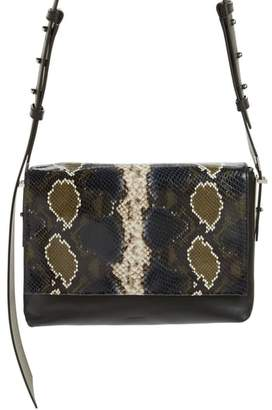 AllSaints Versailles Python Print Leather Shoulder Bag