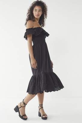 Urban Outfitters Off-The-Shoulder Eyelet Midi Dress