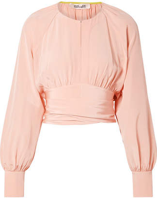Diane von Furstenberg Gathered Cropped Silk Wrap Blouse - Pastel pink