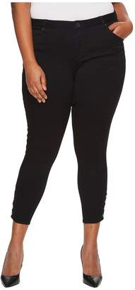 KUT from the Kloth Plus Size Connie Ankle Skinny Snaps Side Legs in Black Women's Jeans