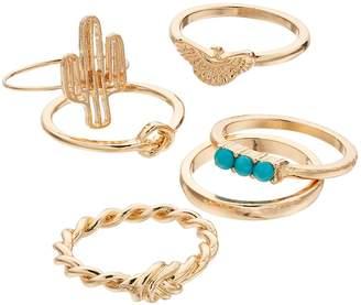 Mudd Cactus, Bird & Knot Ring Set