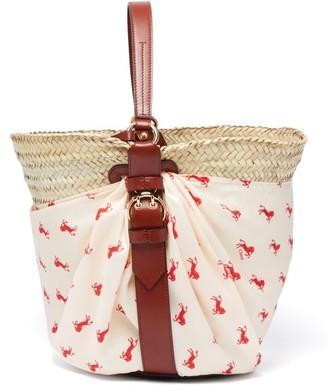 Chloé Panier Medium Raffia Basket Bag - Womens - White Multi