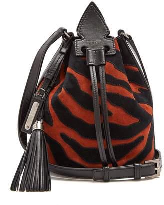 Saint Laurent Anja zebra-print suede bucket bag