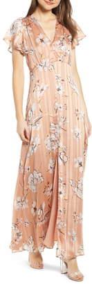 4SI3NNA the Label Floral Satin Maxi Dress