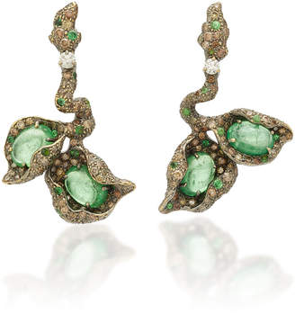 Arunashi One-Of-A-Kind Tsavorite & Diamond Branch Earrings