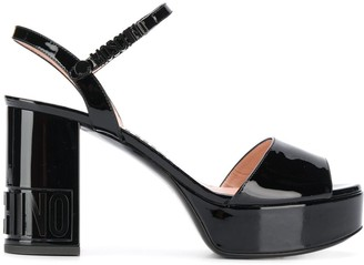 Moschino logo lettering platform sandals