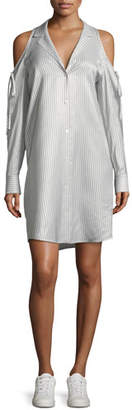 Alexander Wang Drapey Striped Button-Front Cold-Shoulder Shirt