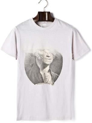 ARKA Dissolving Dollar プリント クルーネック 半袖Tシャツ シルバー s