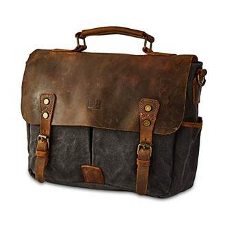 BRASS TACKS Leathercraft Men's Heavy Duty Canvas Genuine Leather Foldover Briefcase Messenger Bag