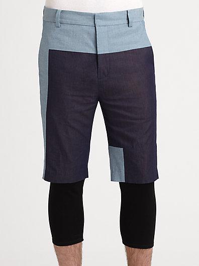 3.1 Phillip Lim Layered-Look Coloblocked Shorts
