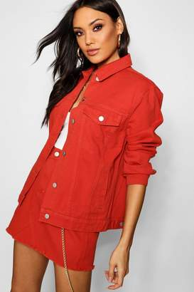 boohoo Rust Oversized Denim Jacket