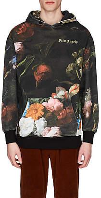 Palm Angels Men's Floral Cotton Hoodie - Black