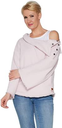 Peace Love World Asymmetrical Neck Top with Button Detail